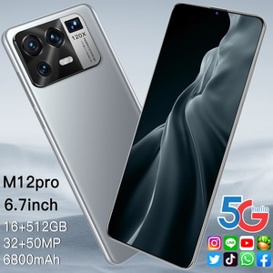M12pro 6.7 Inch Global Version Smartphone 8G +256G ROM 6800mAh Large Battery Android Full Display Dual SIM 4G 5G Call Phone