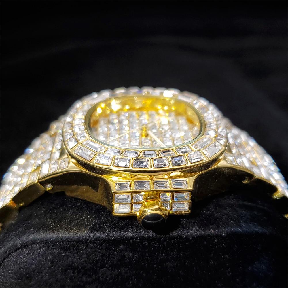 Hip Hop MISSFOX Top Brand Luxury Patek PP Nautilus 5711 Mens Watches Diamond Iced Out Watch Men Luminous Hand Quartz Wristwatch enlarge