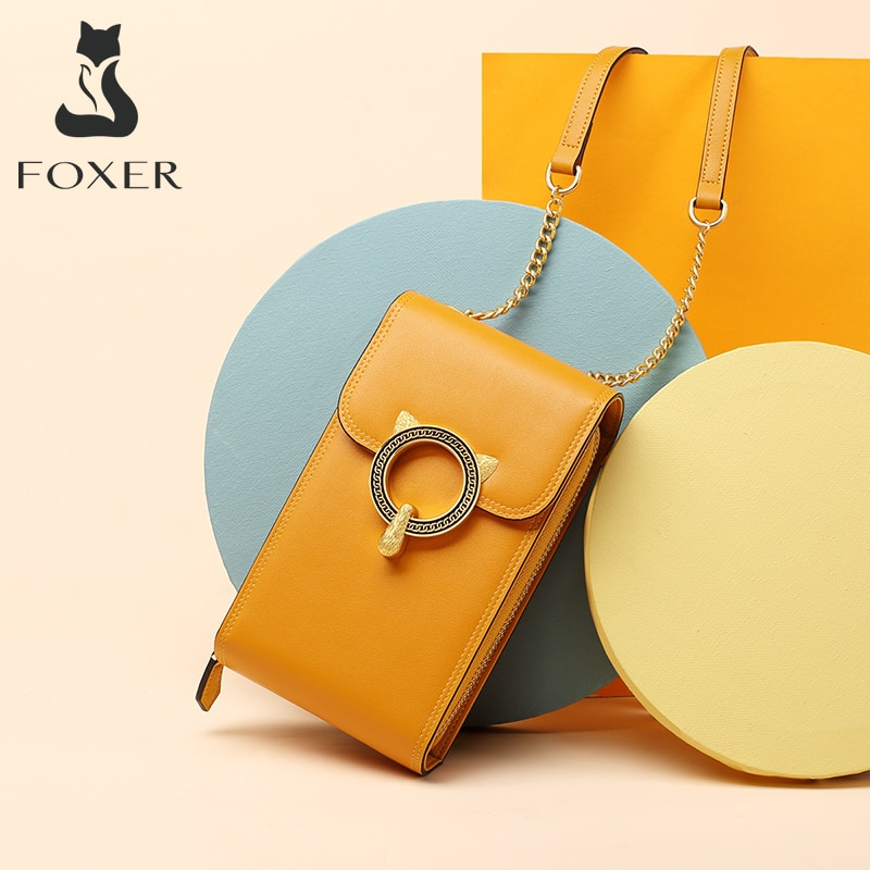 FOXER-حقيبة كتف صغيرة من جلد البقر للبنات ، حقيبة كتف صغيرة ، عصرية ، لطيفة ، للهاتف الخلوي