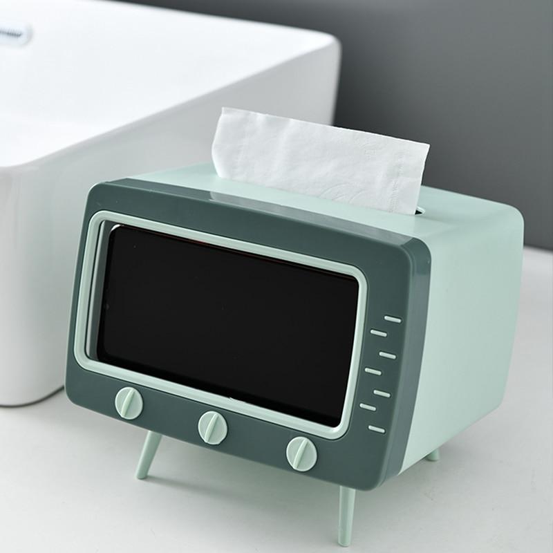 Caja de pañuelos multifuncional, caja para servilletas de almacenamiento de toalla de papel en forma de TV en Color contraste para dormitorio
