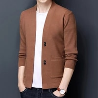 spring autumn the new mens brand fashion business casual solid color v neck knitted cardigan sweater men cardigan coatss 3xl