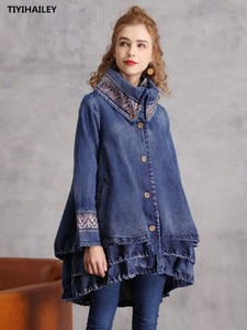 TIYIHAILEY Free Shipping 2020 New Fashion Embroidery Irregular Denim Women Vintage Chinese Trench Single Button M-XL Coats