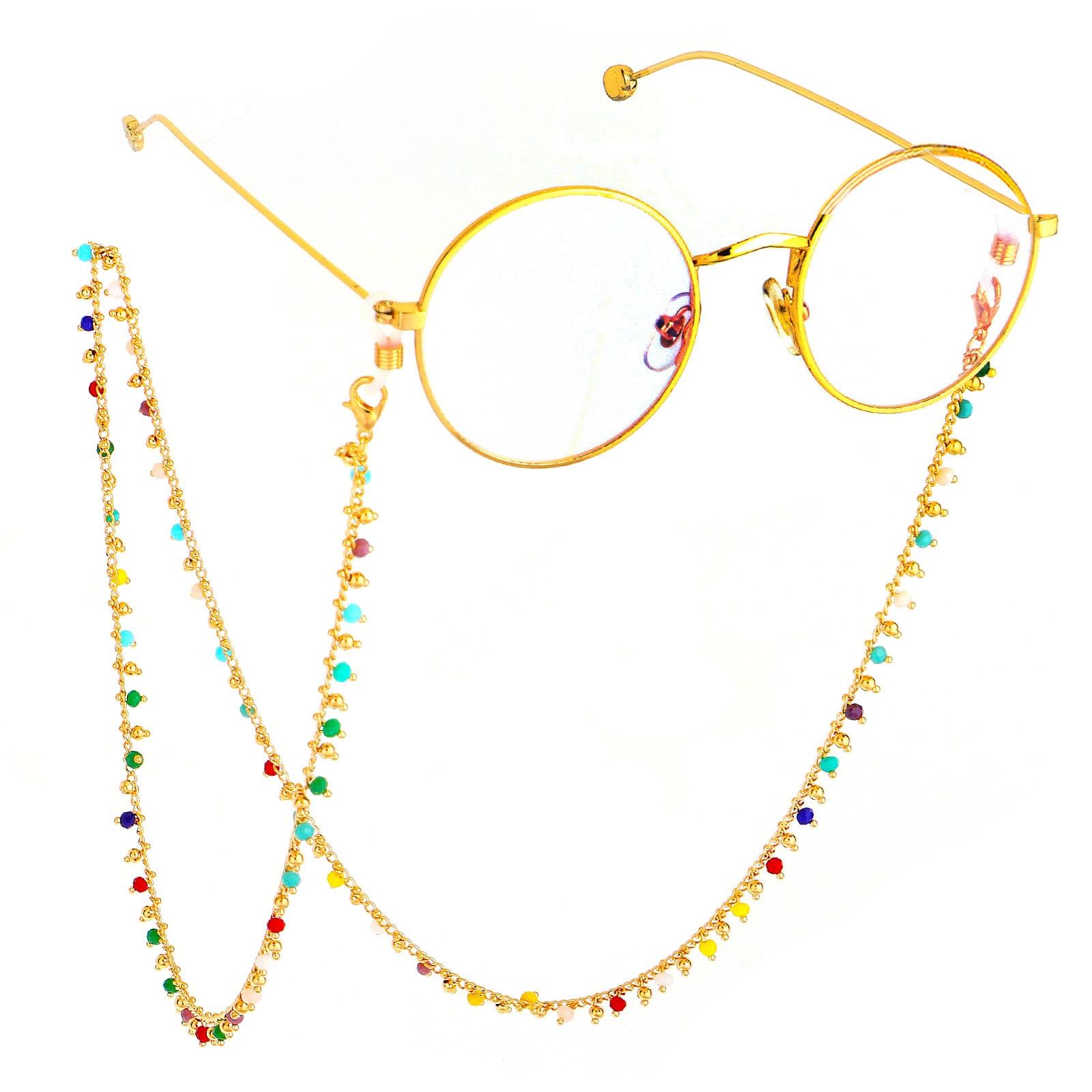 Neck Cord Strap Brass chain Crystal Beaded Eyeglass Strap Reading Glasses Spectacles Sunglasses holder Eyewear Eyeglass Chain