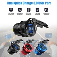 dual usb charger socket waterproof aluminum power outlet fast charge with led voltmeter for 12v24v car boat motorcycle bus