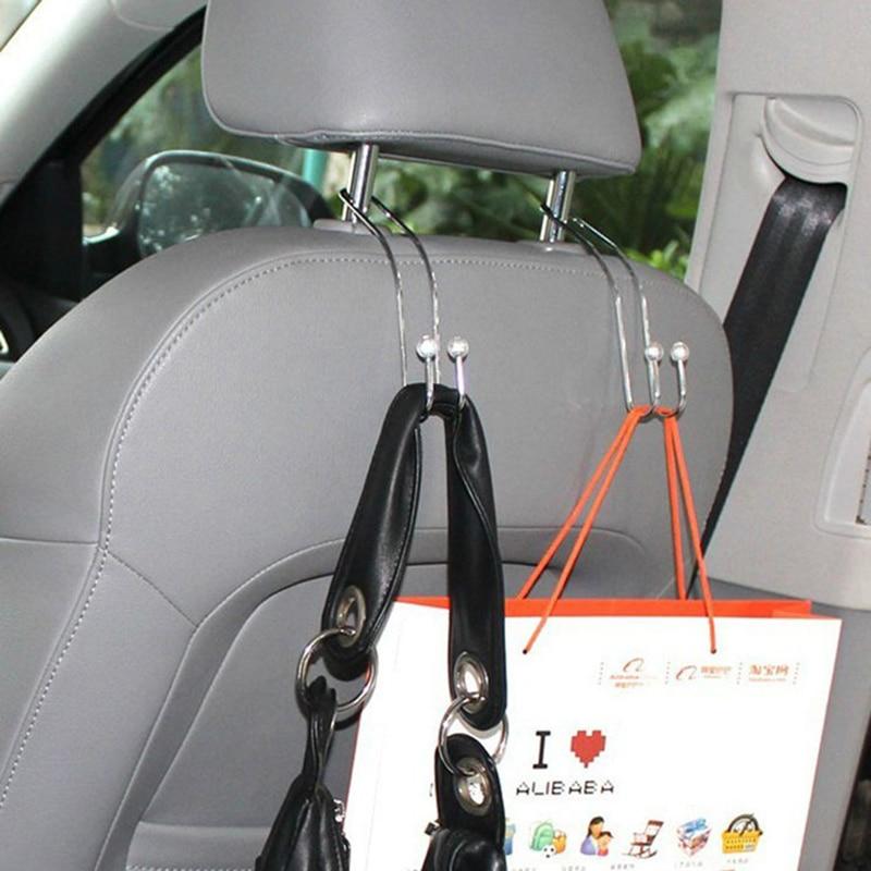 2 pçs metal auto assento de carro gancho saco gancho titular para saco bolsa pano de armazenamento mercearia acessórios do carro auto fixador tslm2