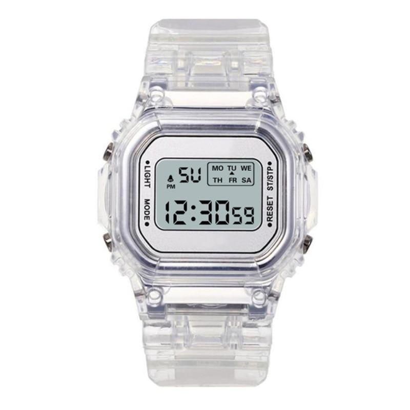 Fashion Men Women Watches Candy Casual Transparent Digital Sport Watch Lover's Gift Clock Children Kid Wristwatch Student Clock