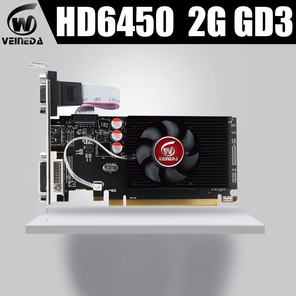 Veineda Graphics Cards HD6450 2GB DDR3 Graphic Video Card High-end Game Graphics Card HD6450