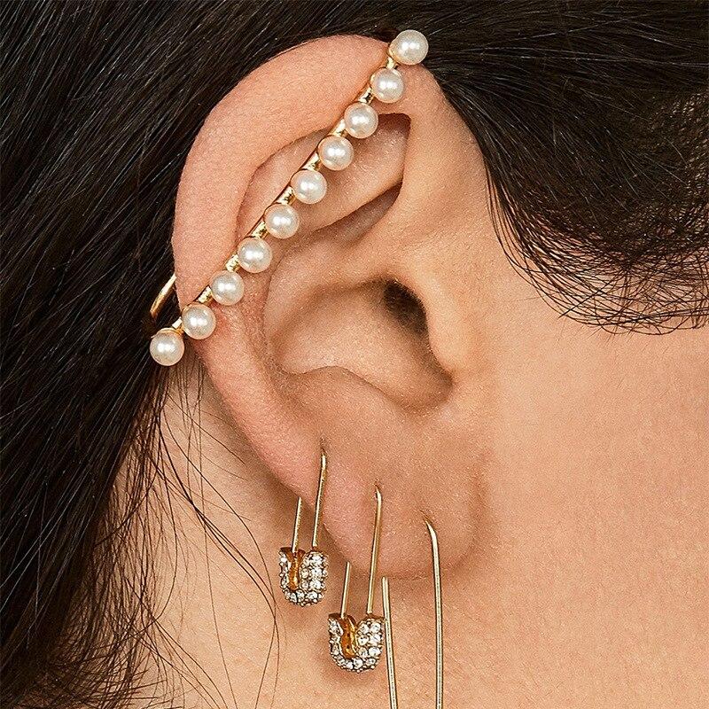2019 nueva Declaración oro perla grande Clip pendientes Clip para las mujeres sin Piercing serpiente oreja brazalete