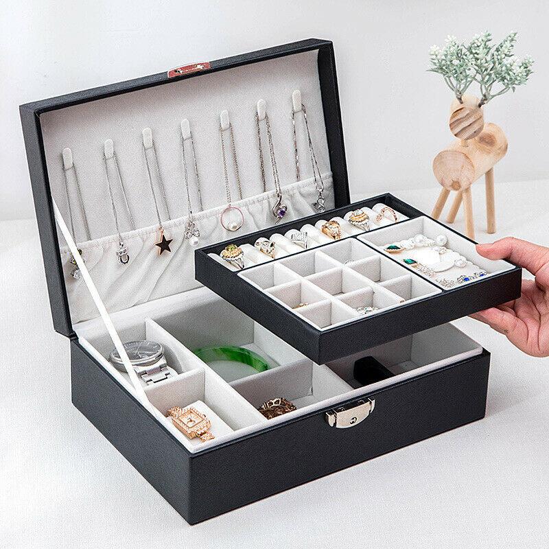 صندوق تخزين المجوهرات المحمولة سستة المحمولة متعددة الطبقات أقراط منظم