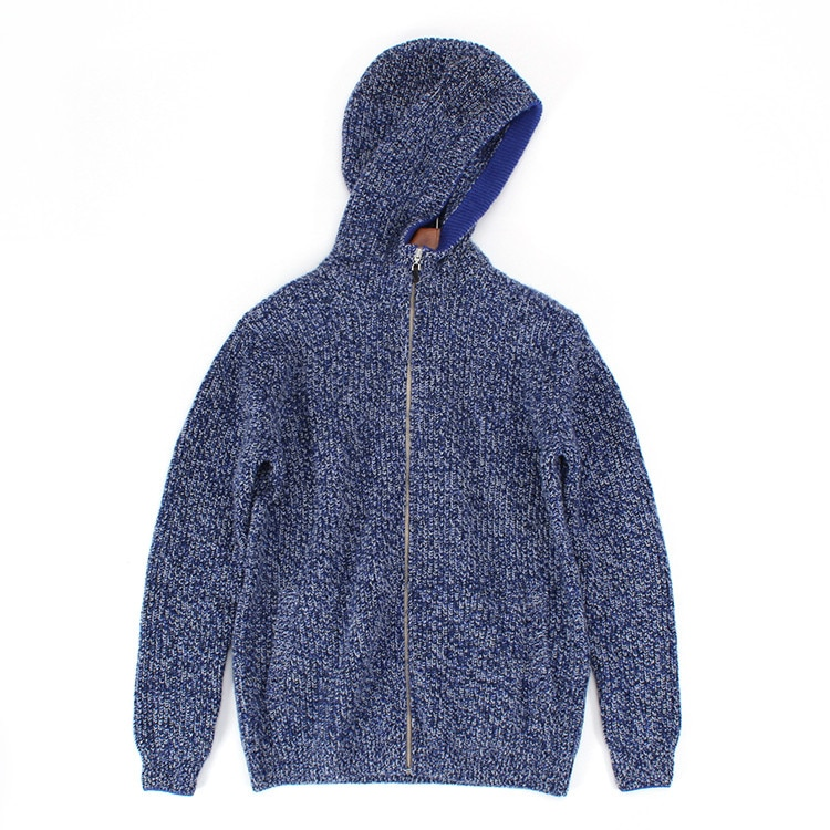 100% ziege kaschmir clip garne stricken männer zipper strickjacke mit kapuze pullover mantel S-2XL