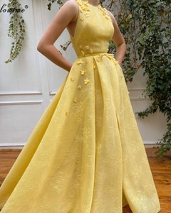 Turkish Couture Yellow Lace Evening Dresses With Flowers Elegant Prom Dresses Women Party Night Celebrity Gowns Robe De Soiree