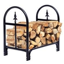 Costway 2 Feet Outdoor Heavy Duty Steel Firewood Log Rack Wood Storage Holder Black