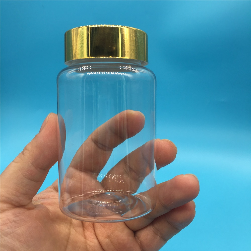 30 قطعة 80 مللي 100 مللي 120 مللي 150 مللي 4OZ شفافة زجاجة بلاستيكية فارغة مسحوق حبة الحلوى ملح استحمام مع ختم لصق علب فارغة