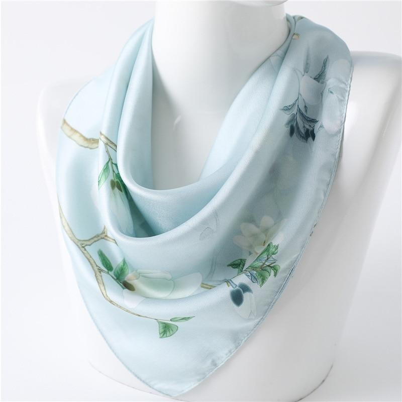 Bufandas de seda para mujer, bufanda cuadrada para Hijab, bufanda de gasa para mujer, chal, bufanda, Pareo, bandana para mujer, 53x53cm, Envío Gratis
