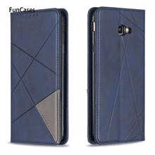 Geometrie Pu Lederen Boek Case Voor Carcaso Samsung J4 Plus Celular Telefoon Mobiele Gevallen Capa Sfor Samsung Galaxy Etui J4 +