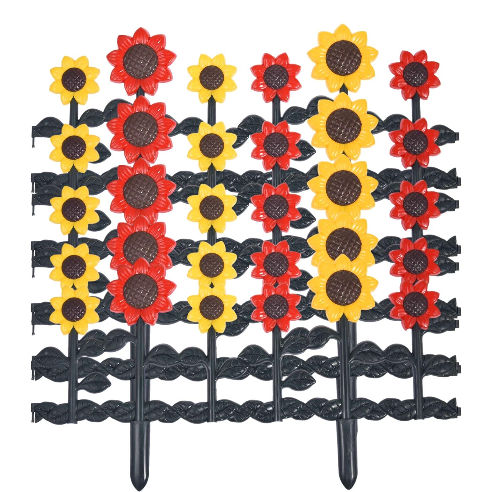 5 قطعة عباد الشمس البلاستيك متفوقا حديقة سياج خشبي حدود النبات ساحة حديقة سياج حديقة الحلي سهلة التركيب ديكور المنزل