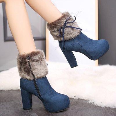 2019 thick with high heel boots women's winter shoes new thick platform waterproof platform Martin boots plus velvet women's boots