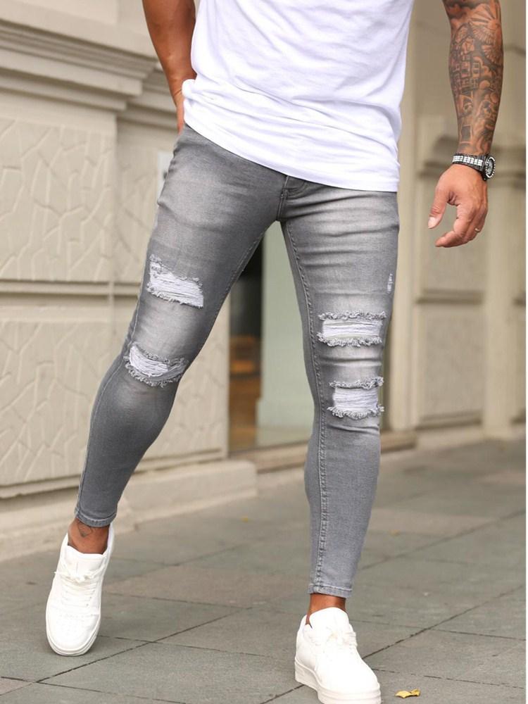 Мужские зауженные джинсы с вышивкой, рваные зауженные джинсы с дырками, байкерские облегающие брюки с вышивкой, модель 2021 года