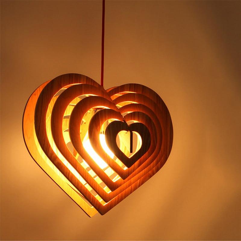 مصباح معلق خشبي على شكل قلب ، تصميم حديث ، إضاءة داخلية مزخرفة ، مثالي لغرفة النوم أو المطعم.