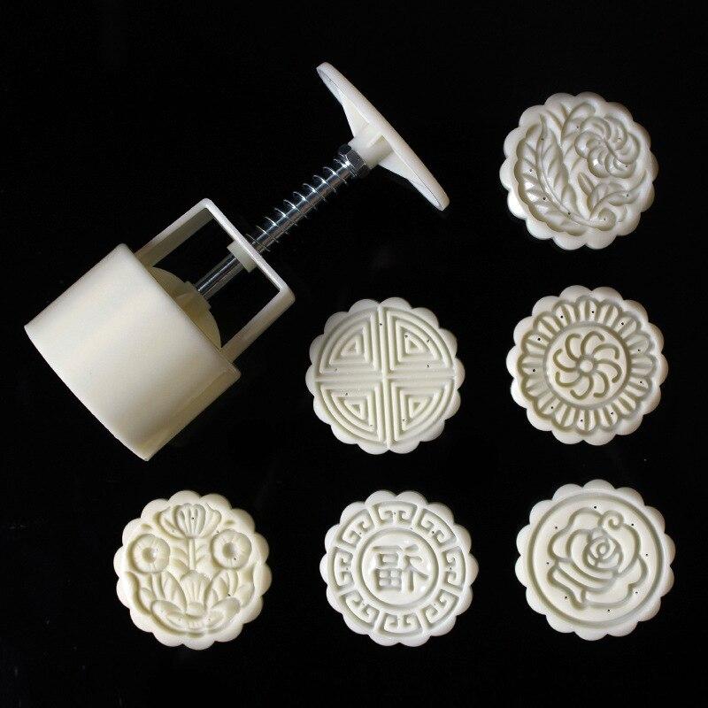 Molde de pastel de Luna y flor redonda 75g, molde de plástico para Festival Chino, molde para pastel de Luna DIY, utensilios de cocina para horno molde de pastel de Luna
