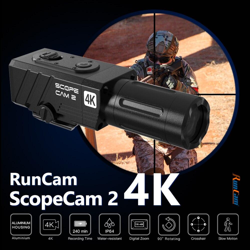 كاميرا RunCam مزودة بنطاق 2 4K كاميرا تقريب رقمي مخصصة تقاطعي الألوان IP64 مقاوم للماء تطبيق صيد كرات الطلاء 1400mAh 128G