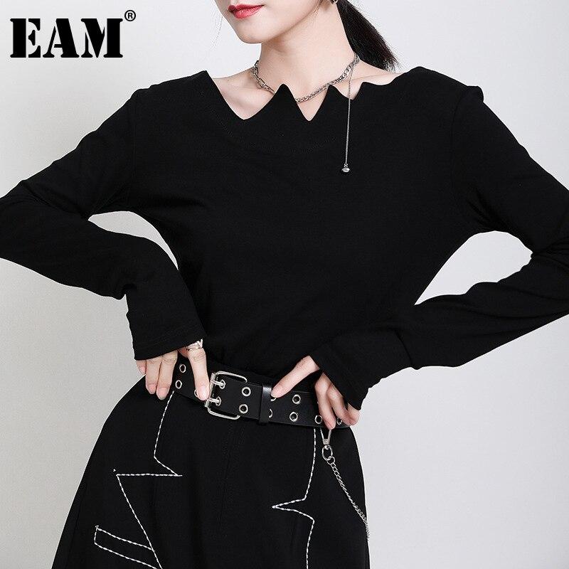 Женская Асимметричная футболка EAM, черная футболка с круглым вырезом и длинным рукавом, весна-осень 2020, 1DA975