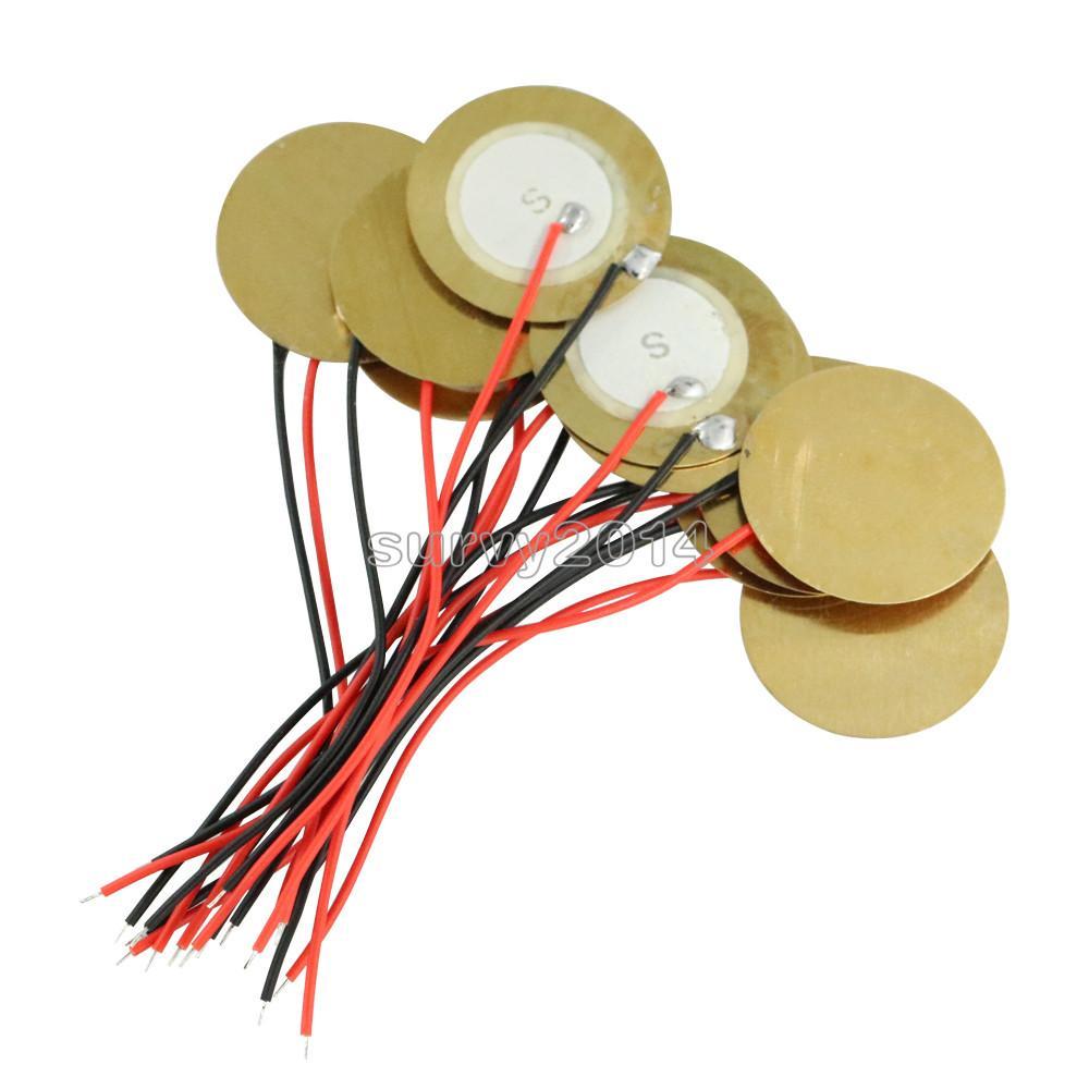 10PCS 20mm Piezo Elements Sounder Sensor Trigger Drum Disc 6.5KHZ + wire copper