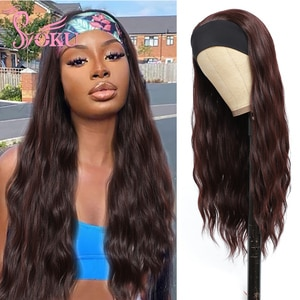 SOKU Long Headband Wigs Synthetic Wig 99J 24Inch Long Wavy Natural Wave Hair High Temperature Fiber Glueless Wig For Women Daily