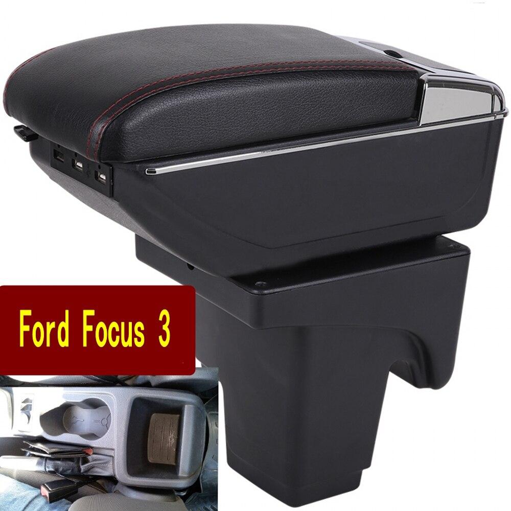 صندوق مسند ذراع السيارة ، منفضة سجائر usb ، صندوق تخزين مركزي ، حامل أكواب ، ملحقات ، فورد فوكس 3