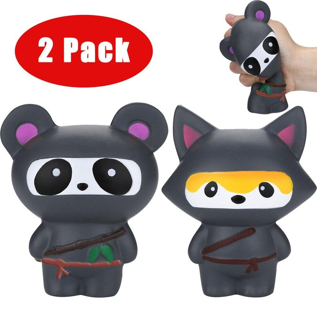 Juguetes para niños 2 uds. Jumbo Ninja Panda y zorro Ninja perfumado lento aumento alivio del estrés juguete para niños Juguetes blandos Juguetes