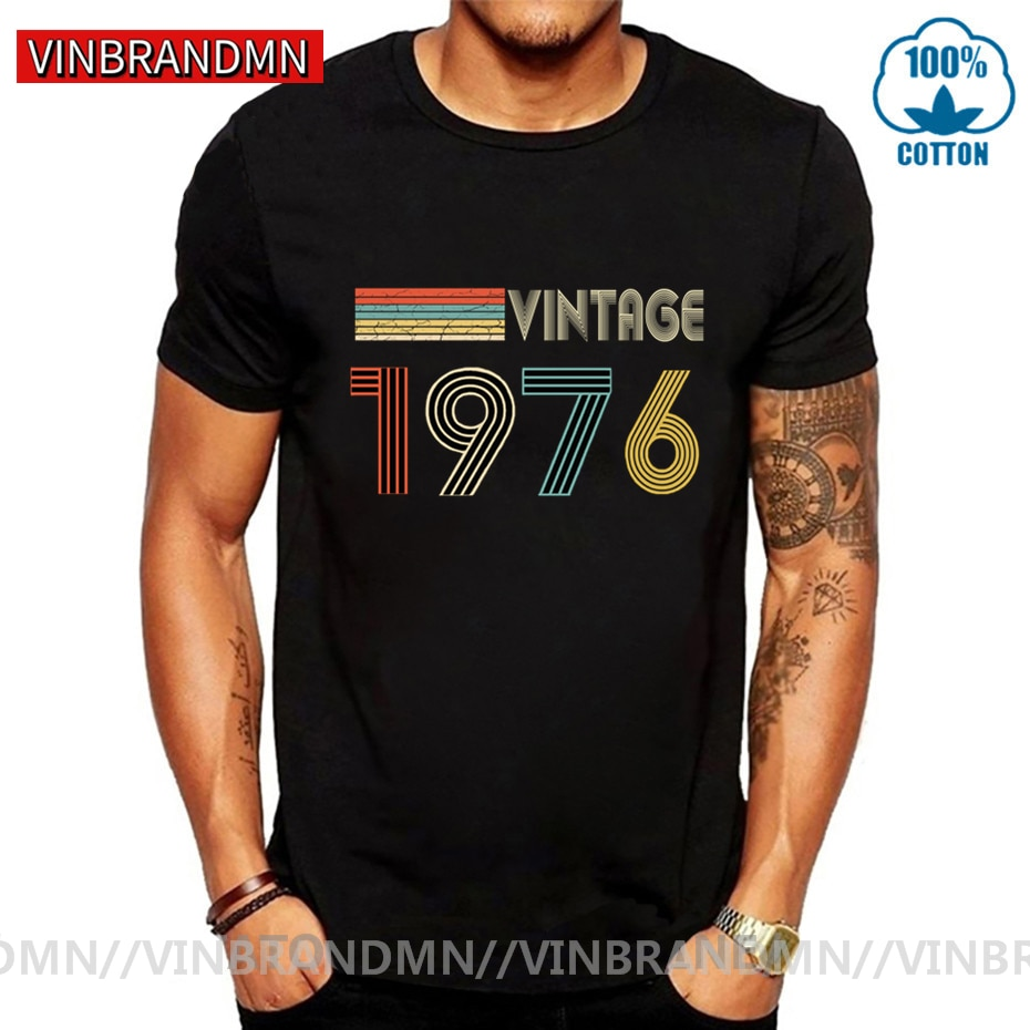 70s Vintage 1976 T Shirt men Fashion Born in 1976 T-shirt male Birthday Father's day Thanksgiving Gi