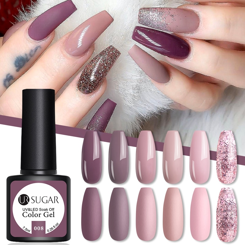 UR SUGAR Gel Nail Polish Nude Pink Semi Permanent Matte Glitter Soak Off UV Nail Gel Varnish All for