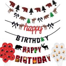 1 ensemble bûcheron thème fête décoration Camping ours sauvage joyeux anniversaire suspendus guirlande bannière garçon Photo stand accessoire