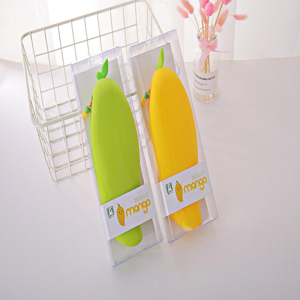 High Quality Kawaii Simulation Series Waterproof Mango Pencil Case Stationery School Students Suppli