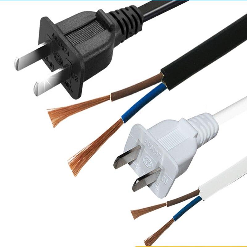 2 piezas tira de Cable de alimentación blanco US 2-clavija adaptador de CA Cable de alimentación 2 Pin 1,5 cable de extensión m 2X0,75 M