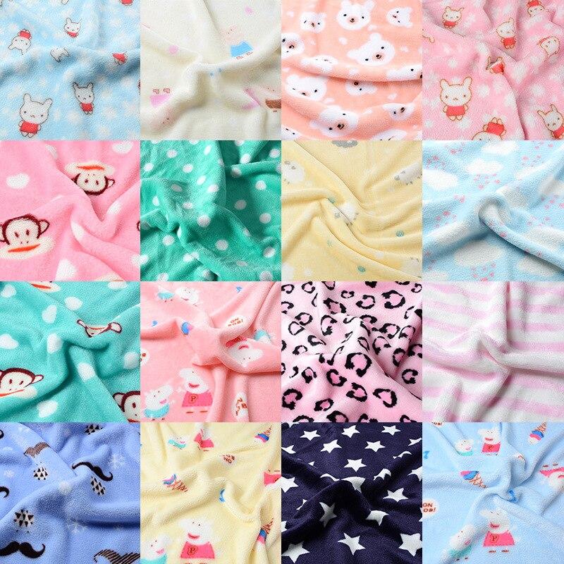 50*165cm Super doux flanelle tissu Double face velours peluche tissu pour vêtements couvertures pyjamas draps jouet poupées bricolage à la main