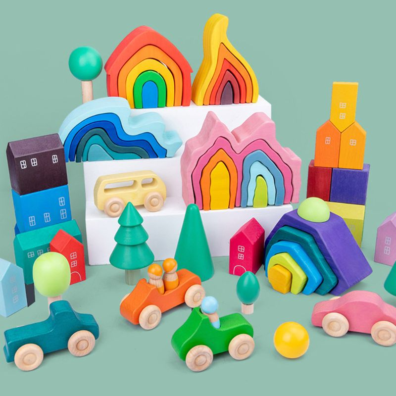 Bloques de construcción de arcoíris de madera para niños, rompecabezas manual con ondas de mar, juguetes educativos