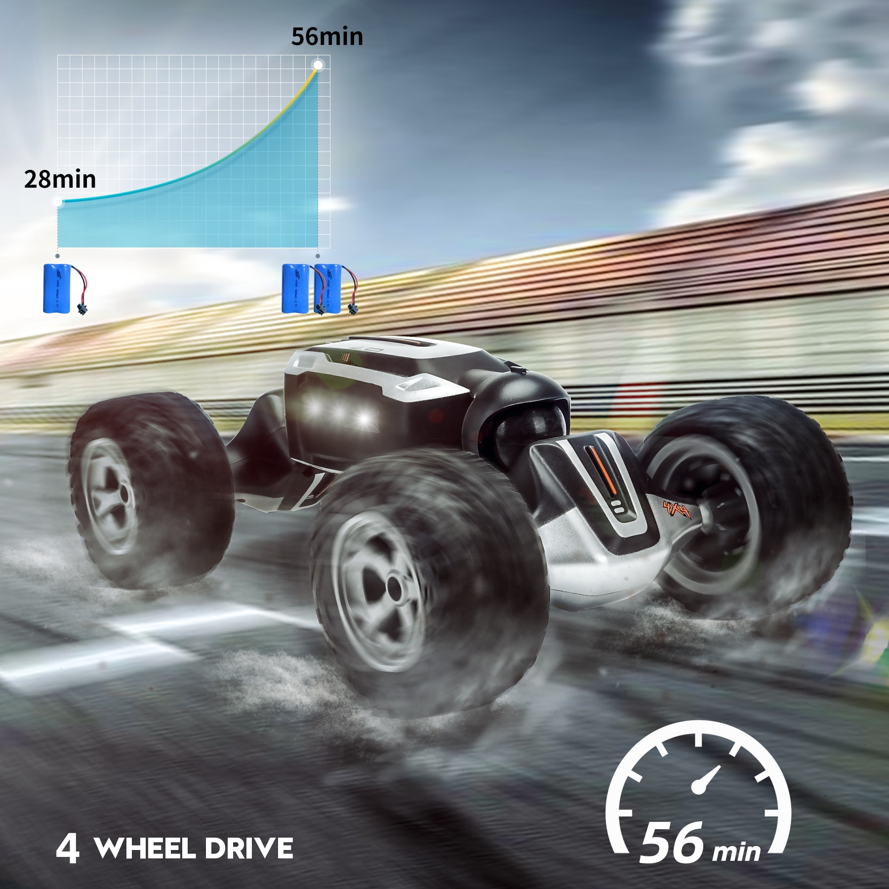 2.4G 4WD Remote Control Stunt RC Cars with LED Light 1:16 Radio Twist Deformation Off-road Vehicle C