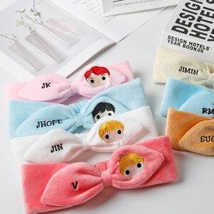 Kpop bangtan boys Cartoon Plush headband embroidery hair band sweat absorption cute headband
