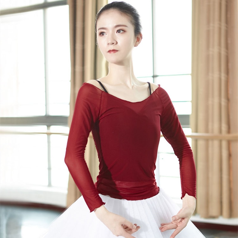 2021 Women Ballet Dance Tops Adult Stretch Soft Mesh  Gymnastics  Coat Top Selling Sexy Perspective