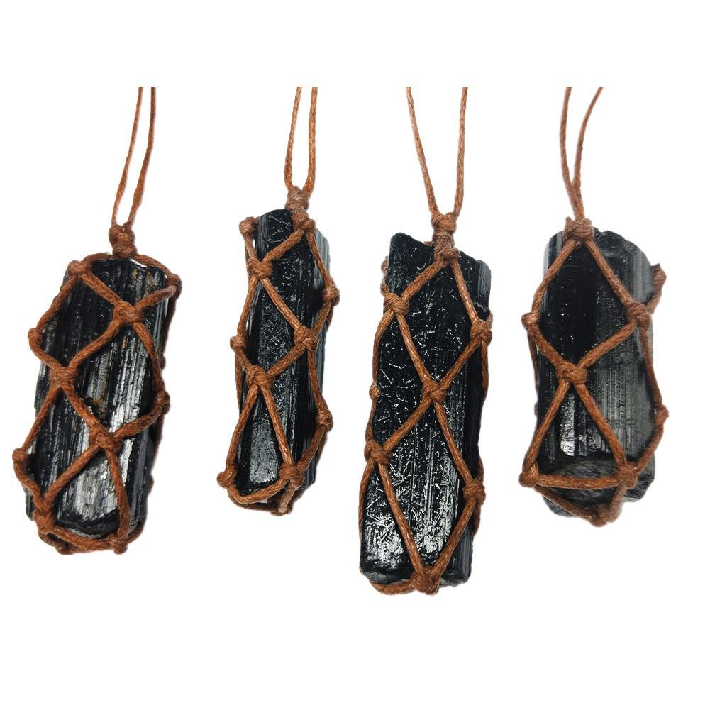 1 Uds. Turmalina colgante de piedra preciosa Natural Retro, Negro, Piedra de chorro de cristal tejida a mano, protección contra la radiación, artesanía de piedra