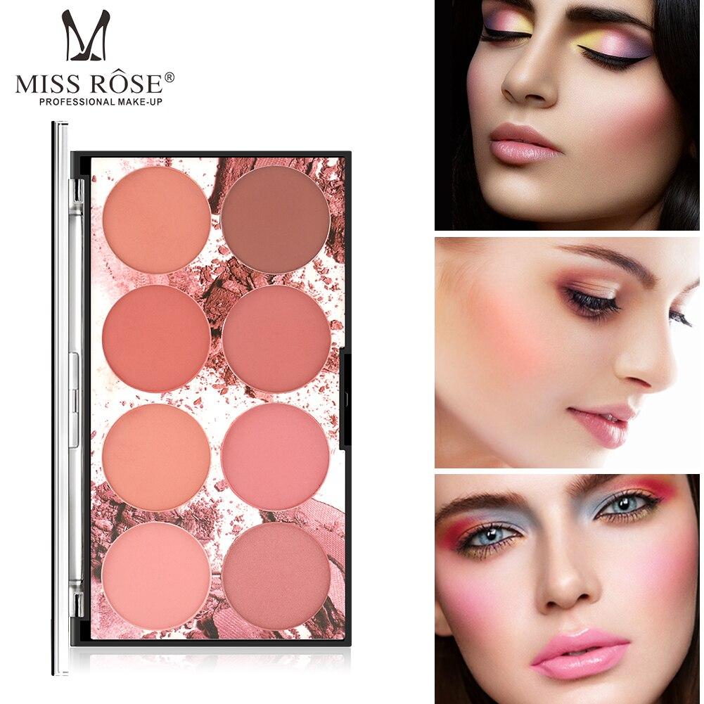 Paleta de 8 colores para colorete de MISS ROSE, paleta de pigmento Mineral para rostro, colorete, maquillaje profesional, colorete, sombra de contorno