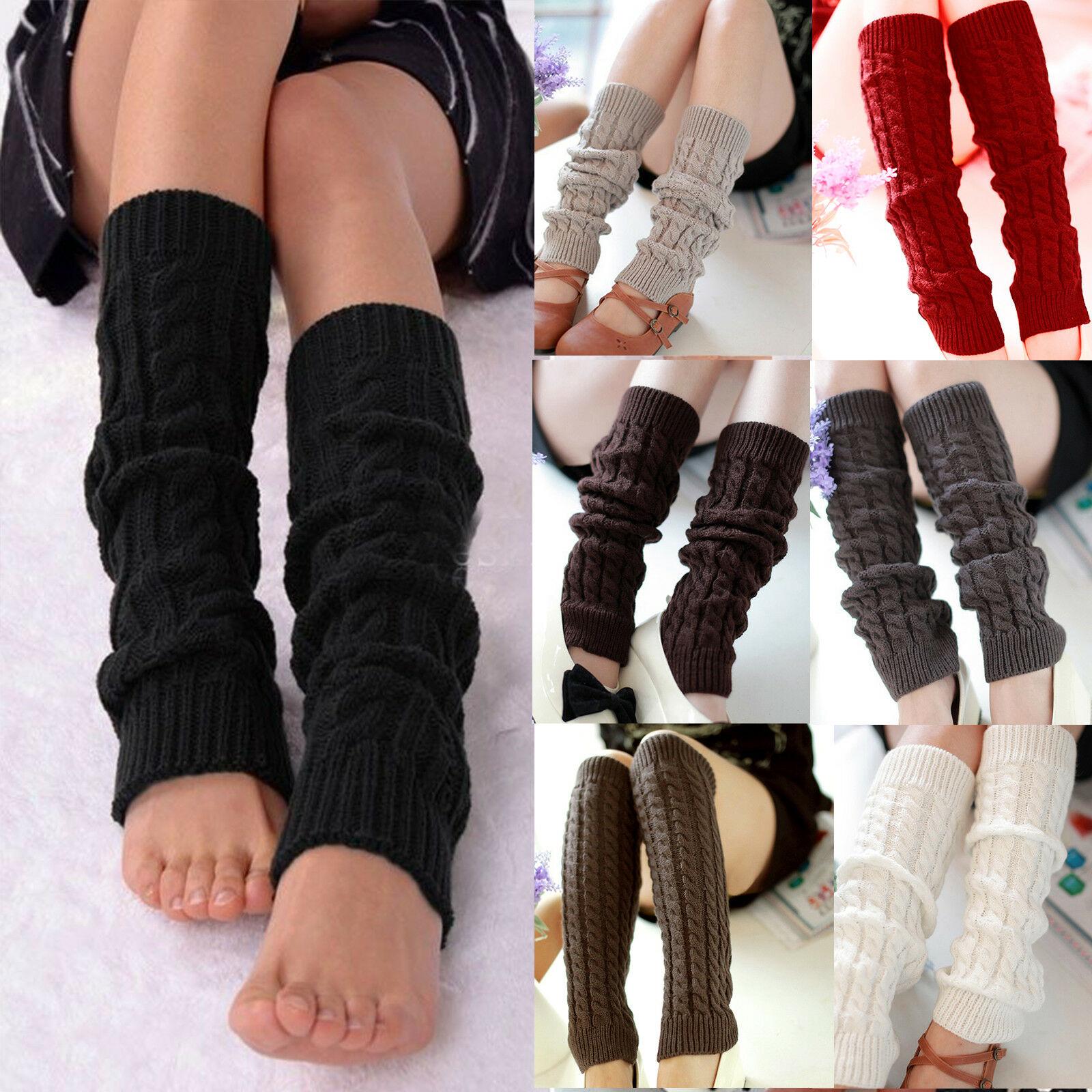 1 Pair Winter Warm Leg Warmer Women Knee High Knitted Solid Crochet Leg Warmers Socks Boot Cuffs Bee