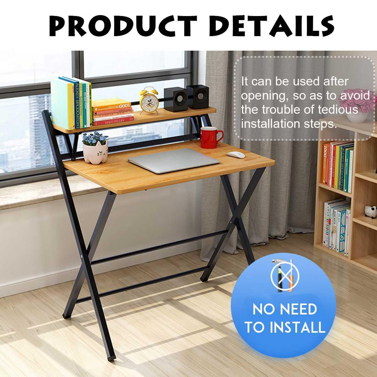 Escritorio de ordenador de 2 niveles, mesa plegable, escritorio para dormitorio de...
