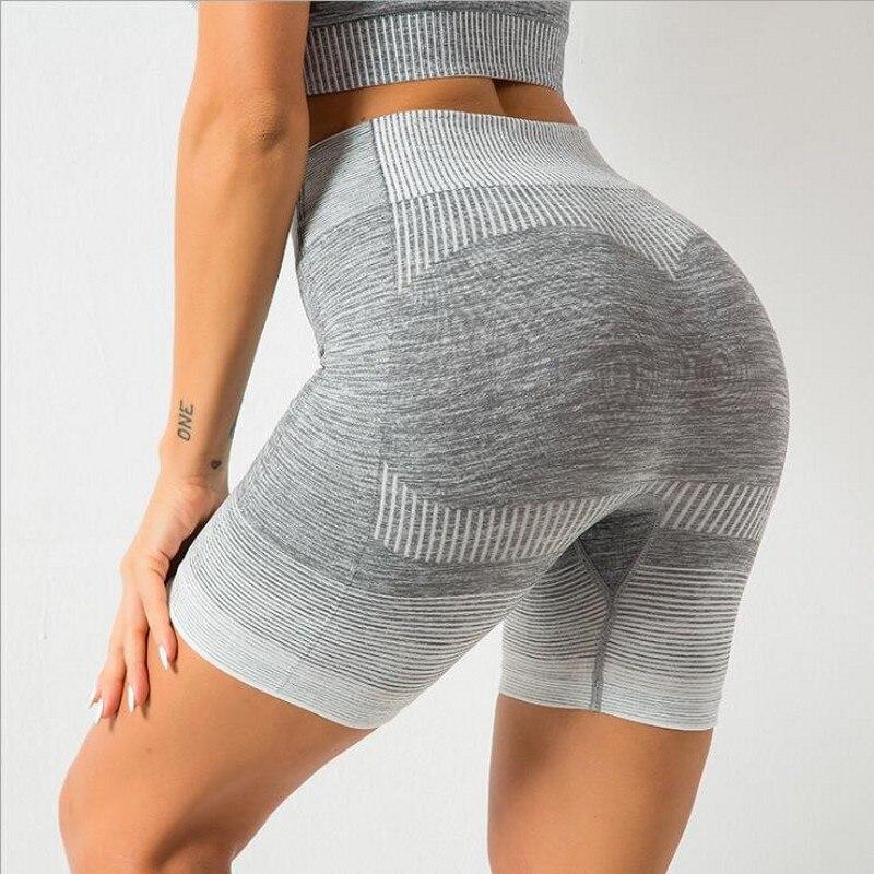 Pantalones cortos para hacer ejercicio sin costuras, color gris, cintura alta, ropa atlética ajustada para entrenamiento femenino, pantalones cortos para correr