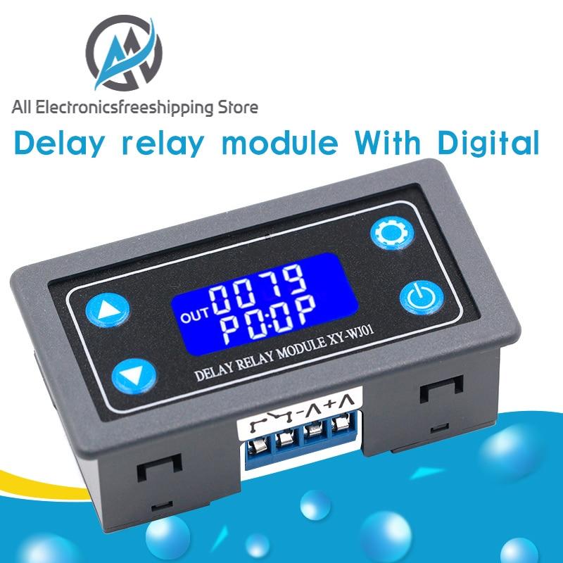 Módulo de Relé Digital LED DC12V, relé de tiempo programable, interruptor de Control de temporizador, Ciclo de disparo de temporizador con funda para interior