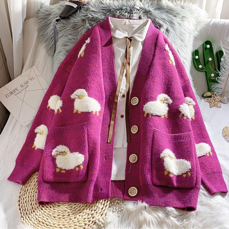 Autumn Winter Knitted Female Cardigan Loose Streetwear Knit Sweater Coat Cute Cartoon Print V Neck knitted cardigan Women Jacket enlarge
