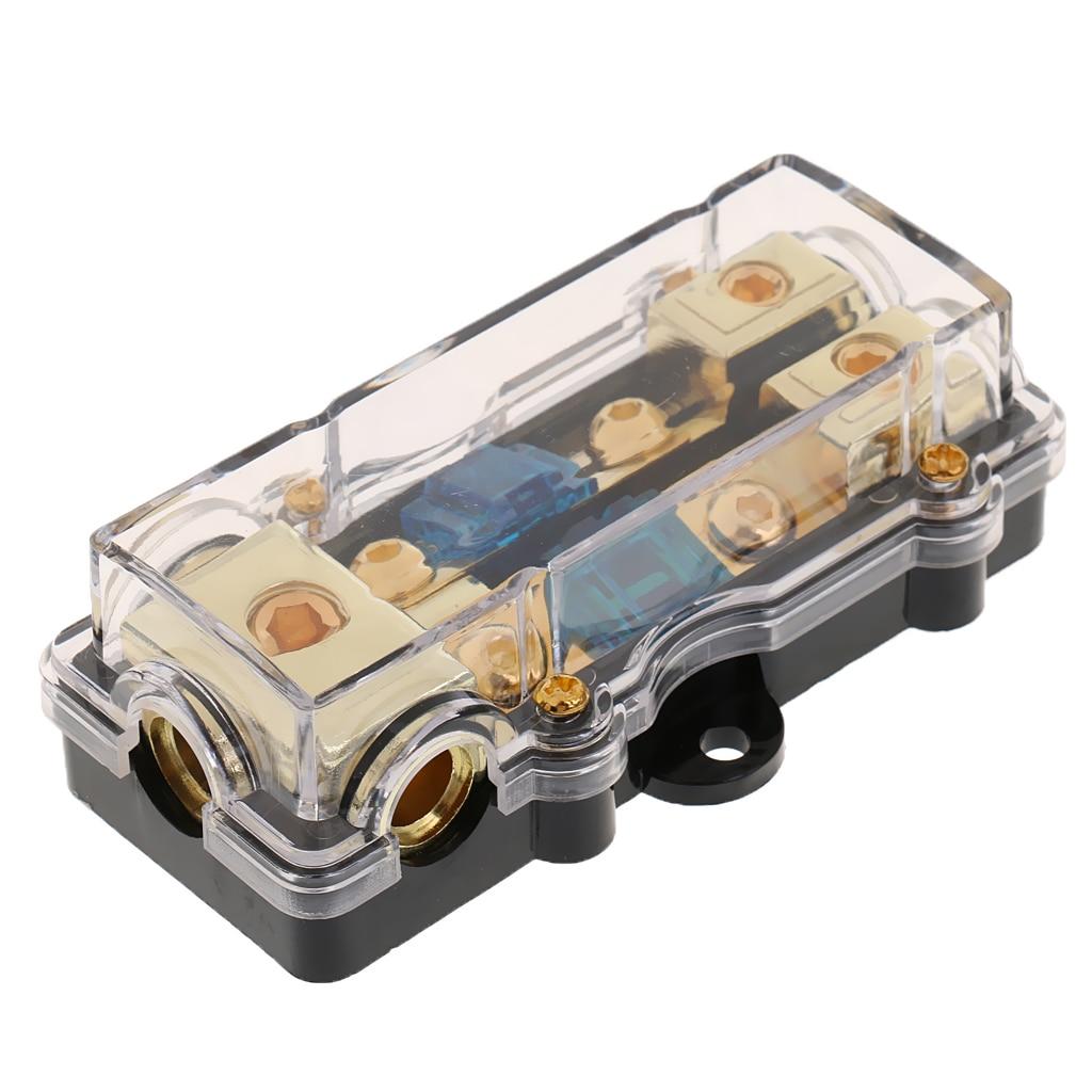 Bloque de distribución de soporte de fusibles de Audio para coche 60A 0/2/4 AWG en 4/6/8 AWG fuera para Auto camión remolque RV SUV yate barco coche accesorios