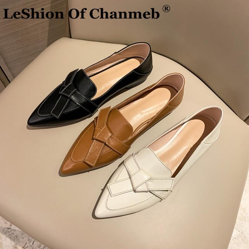 LeShion من Chanmeb 2021 أحدث لينة البقر الطبيعي جلد طبيعي حذاء مسطح المرأة أشار تو الحلو القوس عقدة المتسكعون قماشية