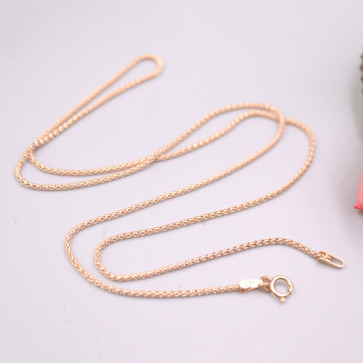 Real 18K Rose Gold Chain For Women Female 1.1mm Small Thin Popcorn Gold Chain Necklace 45cm Length Au750